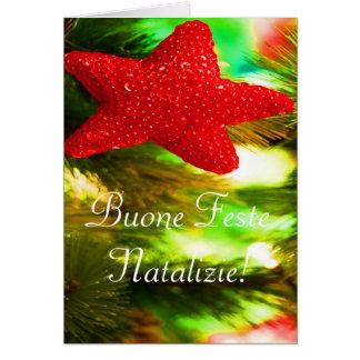 Navidad Buone Feste Natalizie STAR-II rojo Tarjeta De Felicitación