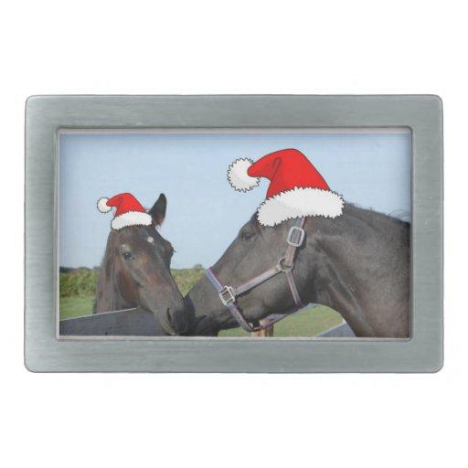 Navidad caballo y potro hebilla de cinturón rectangular