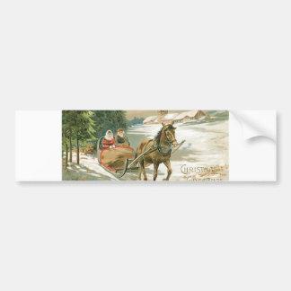 Navidad caballo y trineo pegatina de parachoque