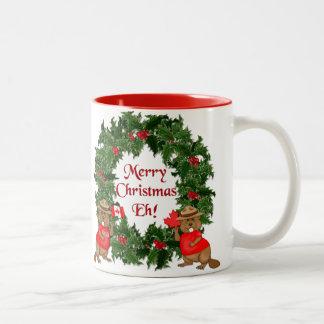 ¡Navidad canadiense Eh! Taza De Dos Tonos