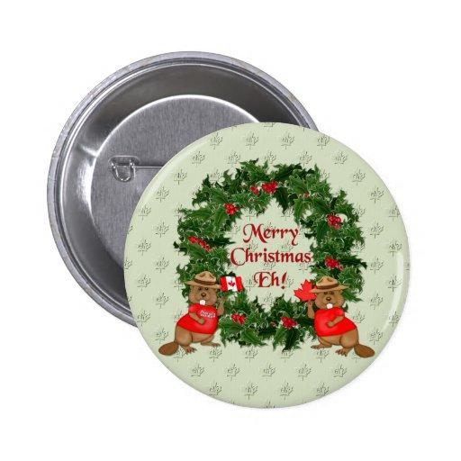 Navidad canadiense pin redondo de 2 pulgadas