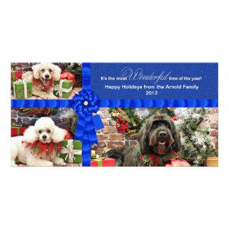Navidad - caniche Cockapoo - Arnold de GoldenDoodl Tarjeta Fotográfica Personalizada