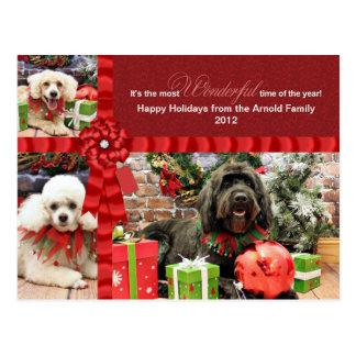 Navidad - caniche Cockapoo - Arnold de GoldenDoodl Tarjetas Postales