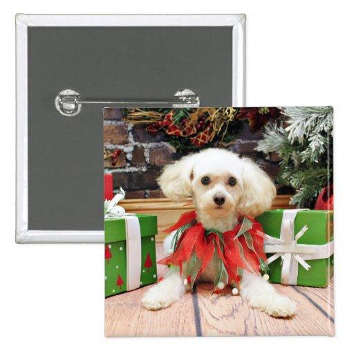 Navidad - caniche - grillo pin cuadrada 5 cm