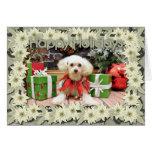 Navidad - caniche - grillo tarjeta de felicitación