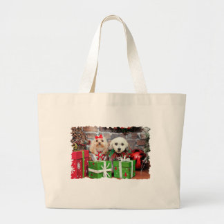 Navidad - caniche - Lulu y Snookie Bolsas Lienzo