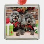 Navidad - caniche - máximo y PAL Ornamento De Navidad