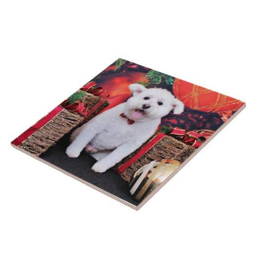 Navidad - caniche Terrier X - Jackson Azulejo Cuadrado Grande