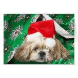 Navidad cansado Shih Tzu Tarjeta De Felicitación