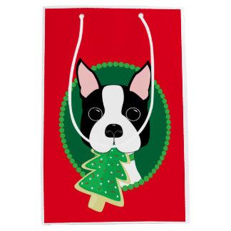 Navidad caprichoso de Boston Terrier Bolsa De Regalo Mediana