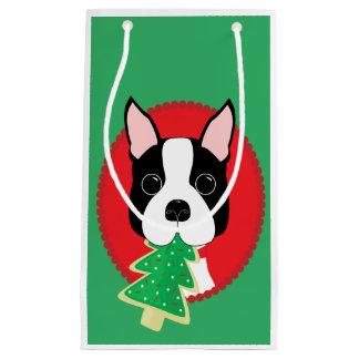 Navidad caprichoso de Boston Terrier Bolsa De Regalo Pequeña