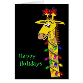 Navidad caprichoso de la jirafa divertida con la t tarjeta de felicitación