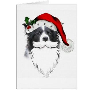 Navidad Card~Santa del border collie con la barba Tarjeta