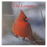Navidad cardinal azulejo cuadrado grande