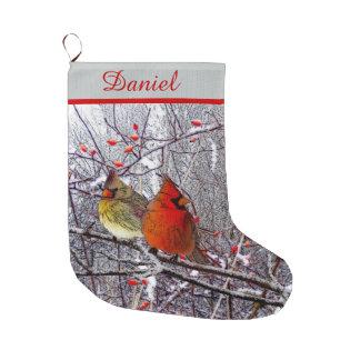 Navidad cardinal calcetín de navidad grande