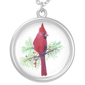 Navidad cardinal colgante redondo
