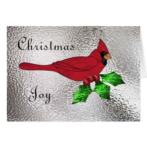 Navidad cardinal en vitral felicitacion