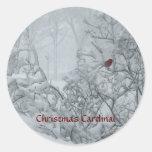 Navidad cardinal etiqueta redonda