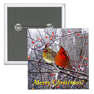 Navidad cardinal pin cuadrada 5 cm