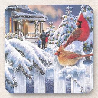 Navidad cardinal rojo posavaso