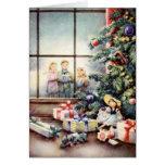 Navidad Carollers en ventana Tarjetas