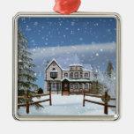 Navidad, casa en escena del invierno Nevado Adorno De Reyes