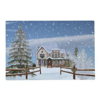 Navidad, casa en escena del invierno Nevado Tapete Individual