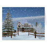 Navidad, casa en escena del invierno Nevado Tarjetón
