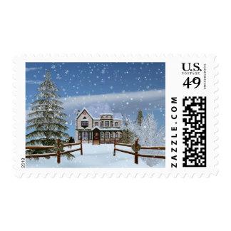 Navidad, casa en escena del invierno Nevado Timbres Postales