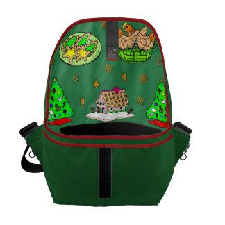 Navidad - casas de pan de jengibre y galletas bolsas de mensajeria