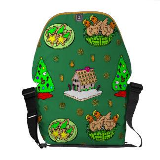 Navidad - casas de pan de jengibre y galletas hela bolsa messenger