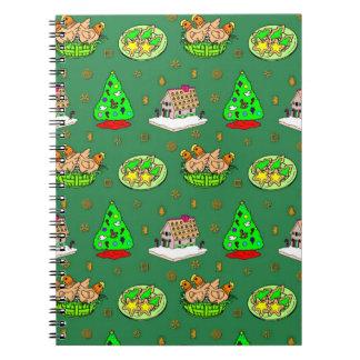 Navidad - casas de pan de jengibre y galletas hela libros de apuntes