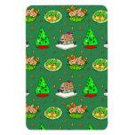 Navidad - casas de pan de jengibre y galletas hela imán rectangular