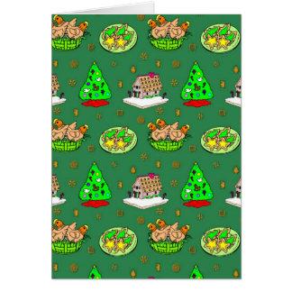 Navidad - casas de pan de jengibre y galletas hela tarjeta de felicitación
