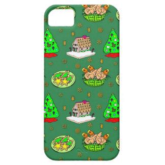 Navidad - casas de pan de jengibre y galletas iPhone 5 fundas