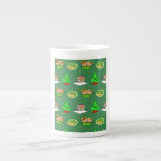 Navidad - casas de pan de jengibre y galletas taza de porcelana