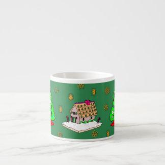 Navidad - casas de pan de jengibre y galletas taza espresso
