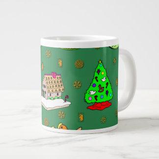 Navidad - casas de pan de jengibre y galletas taza grande