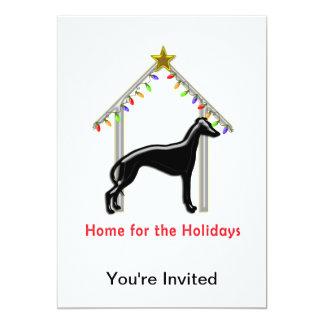 Navidad casera del galgo del logotipo del día de invitación 12,7 x 17,8 cm
