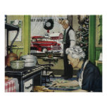 Navidad casero pasado de moda del vintage póster