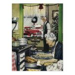 Navidad casero pasado de moda Postc de la cocina d Postal