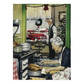 Navidad casero pasado de moda Postc de la cocina Postal