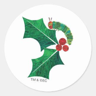Navidad Caterpillar de Eric Carle el | Pegatina Redonda