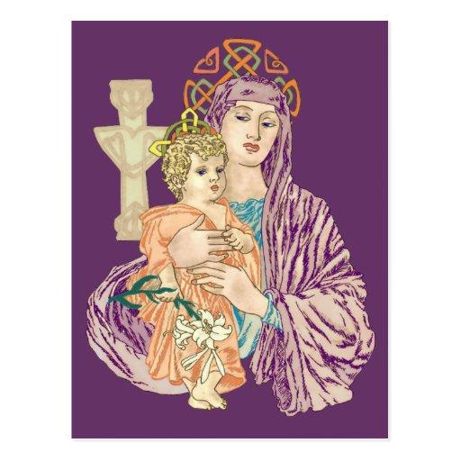 Navidad céltico Madonna Tarjetas Postales