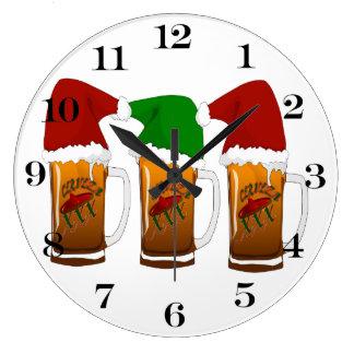 Navidad Cerveza de los amigos de Tres Reloj Redondo Grande