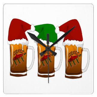 Navidad Cerveza de los amigos de Tres Reloj Cuadrado