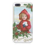 """Navidad """"chica del vintage con las bolas de nieve  iPhone 5 carcasas"""