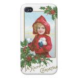 """Navidad """"chica del vintage con las bolas de nieve  iPhone 4 fundas"""