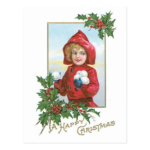 """Navidad """"chica del vintage con las bolas de nieve postales"""