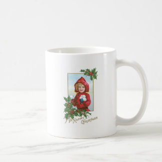 Navidad chica del vintage con las bolas de nieve tazas